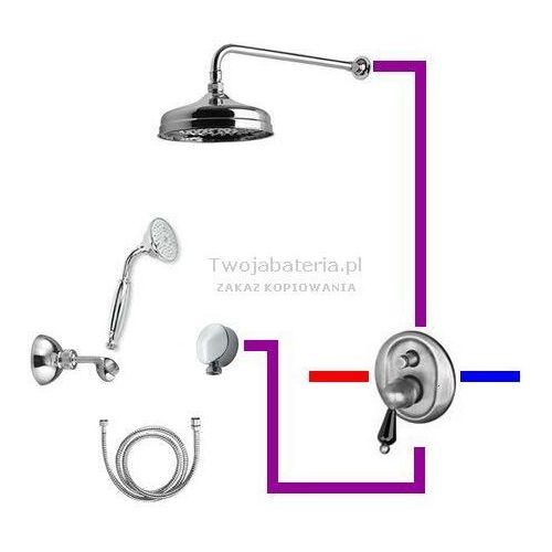 praga kompletny zestaw prysznicowy deszczownica słuchawka z uchwytem swarovski czarny swarovski swpruc6 marki Giulini giovanni