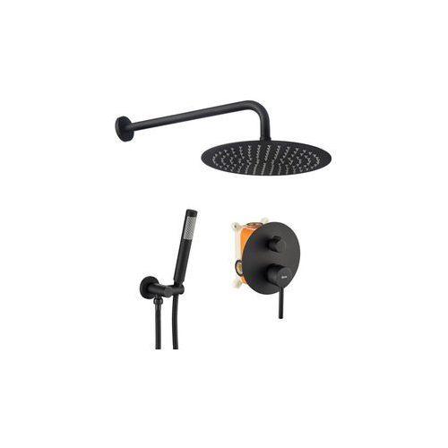 Zestaw prysznicowy podtynkowy, kolor czarny lungo black marki Rea