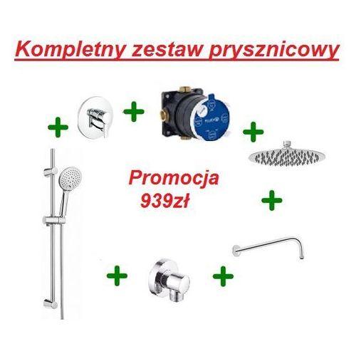 zenta kompletny zestaw prysznicowy z drążkiem i deszczownicą oxy 20cm 386500575 marki Kludi