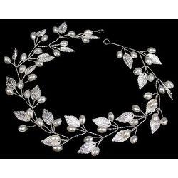 Ozdoba do włosów ślubna srebrna perły listki ślub marki Miss glow