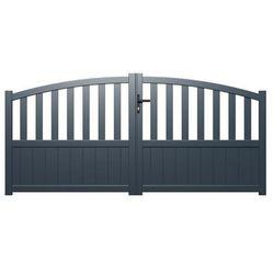 Brama wjazdowa rozwierna LARBEY z aluminium w kolorze antracytowym – 300 × 120/140 cm (szer. × wys.)