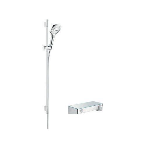 raindance select e zestaw prysznicowy 120 z termostatem showertablet select i drążkiem 90 cm, kolor chrom 27027000 marki Hansgrohe