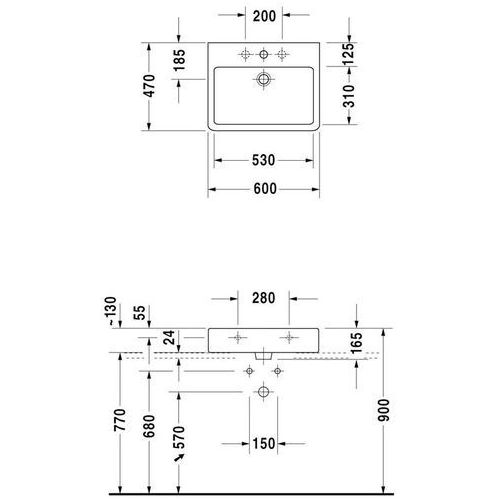 Duravit Vero 600. mm x 470. mm (0454600025)