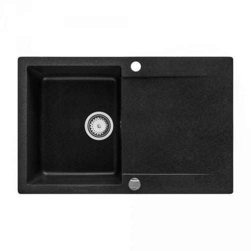 Zlewozmywak granitowy cubic czarny z ociekaczem 49x78 cm + syfon automatyczny marki Vbckueche