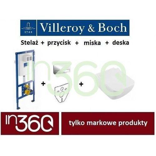 Villeroy ViConnect Venticello, Zestaw stelaż podtynkowy, Miska WC z deską w/o, przycisk chrom błyszczący (92246100+92249061+4611R001+9M79S101) IN.000Z211