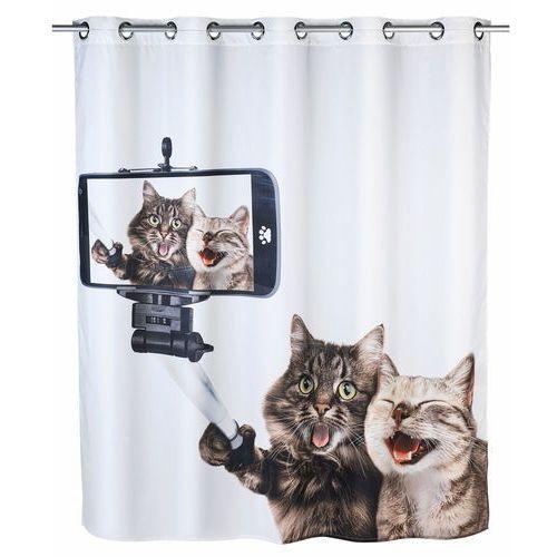Zasłona prysznicowa selfie cat, tekstylna, 180x200 cm, marki Wenko