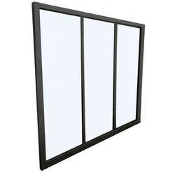Przeszklona ścianka bayview z aluminium lakierowanego na czarno - 90x130 cm marki Vente-unique