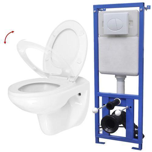 vidaXL Wisząca miska WC ze spłuczką podtynkową, ceramiczna, biała (8718475585695)