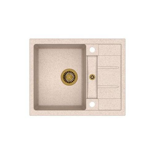Zlew granitowy ze złoty syfonem Quadron Morgan 116 - Beżowy, kolor złoty