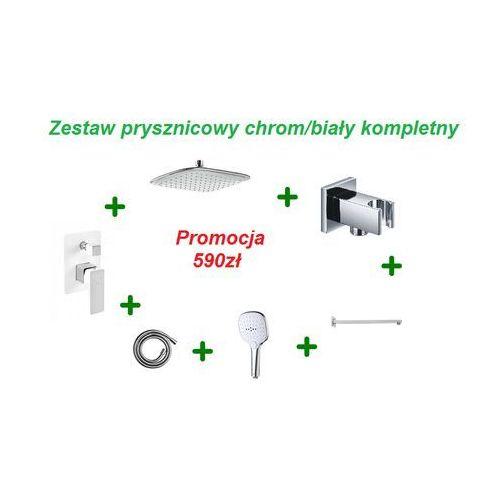 Omnires parma zestaw prysznicowy podtynkowy chrom/biały z baterią pm7435crb