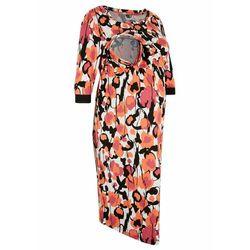 Sukienka ciążowa i do karmienia lenzing™ ecovero™ łososiowy pomarańczowy w graficzny wzór, Bonprix, 44-46
