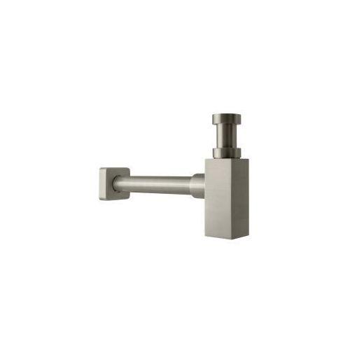 Kerra dekoracyjny syfon umywalkowy z mosiądzu, kwadratowy, nikiel szczotkowany skss