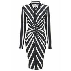 Sukienka szmizjerka z efektem przewiązania bonprix czarno-biel wełny w paski