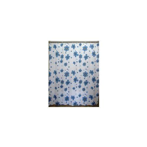 zasłonka prysznicowa biała w niebieskie kwiatki awd02100847 marki Awd interior