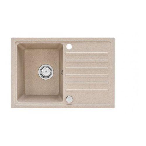 Zlewozmywak granitowy NEXO beż z ociekaczem 45,4x70 cm + syfon manualny