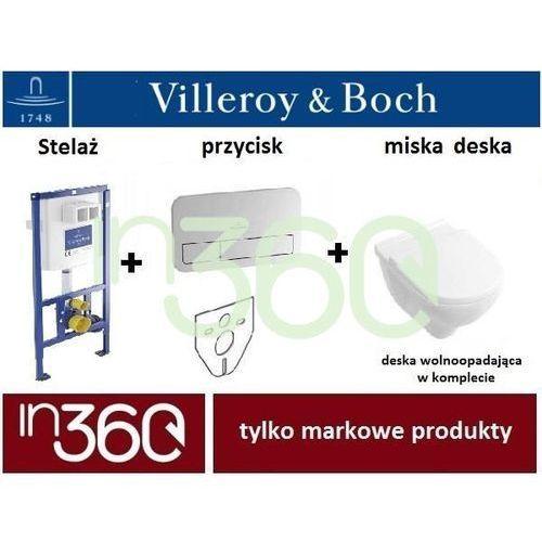 Villeroy & boch Villeroy viconnect o.novo, zestaw stelaż podtynkowy, miska wc bezrantowa z deską w/o, przycisk (92246100+92249061+5660hr01) in.000z202