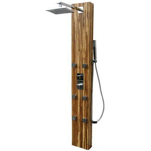Panel prysznicowy z drewna tekowego z mieszaczem Corsan Jura W-013, W-013 JURA M