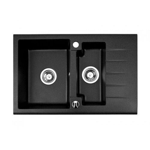 Zlewozmywak Granitowy CARO 15 czarny, kolor czarny