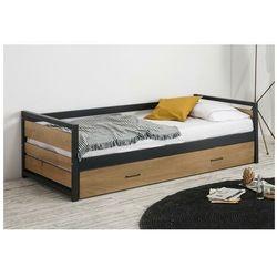 Łóżko wysuwane w industrialnym stylu BOSTON - 2x90x190cm - MDF, sosna i metal Kolor: Orzech i antracyt