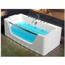 Przeszklona wanna z hydromasażem dyona - 1-osobowa - 260 l - 170*85*58cm - kolor: biały marki Vente-unique