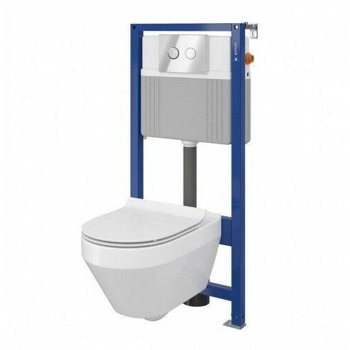 Cersanit Crea Set B23 miska WC CleanOn z deską wolnoopadającą Slim i stelaż podtynkowy Aqua z przyciskiem spłukującym Accento Circle chrom błyszczący S701-315