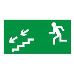 Znak Kierunek ewakuacji schodami w lewo w dół