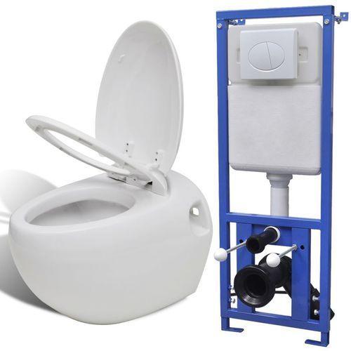 Podwieszana toaleta owalna, ze zbiornikiem, biała marki Vidaxl