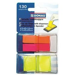 Zakładki indeksujące DONAU, PP, 12x40mm/25x45mm, 2x40/1x50 kart., mix kolorów