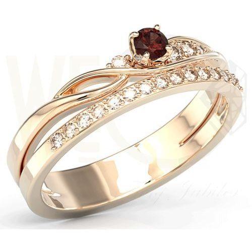 Pierścionki i obrączki, Pierścionek z różowego złota z granatem i brylantami BP-77P-GRA/D - Różowe \ Granat