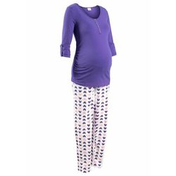 Piżama do karmienia piersią, bawełna organiczna, (2 części) bonprix lila-biały z nadrukiem