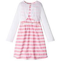 Zestawy odzieżowe dziecięce, Sukienka + pasek + bolerko (3 części) bonprix jasnoróżowo-biały w paski