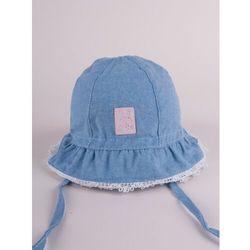 Czapka letnia kapelusz dżinsowy z różowym wykończeniem cute bunny 42-44