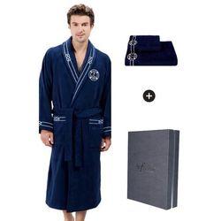 Męski szlafrok MARINE MAN w ozdobnym opakowaniu + ręcznik M + ręcznik 50x100cm + pudełko Ciemnoniebieski