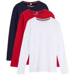 Shirt z długim rękawem (3 szt.) bonprix czerwony + ciemnoniebieski + biały