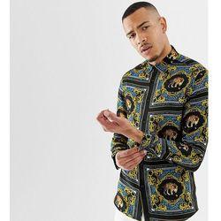 ASOS DESIGN Tall regular fit baroque leopard print placement print shirt - Blue