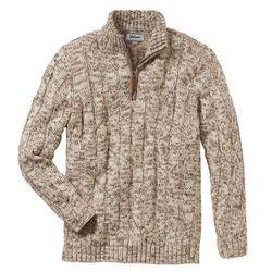 Sweter ze stójką Regular Fit bonprix beżowy melanż