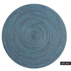 SELSEY Podkładka pod talerz Karrins okrągła średnica 38 cm turkusowa