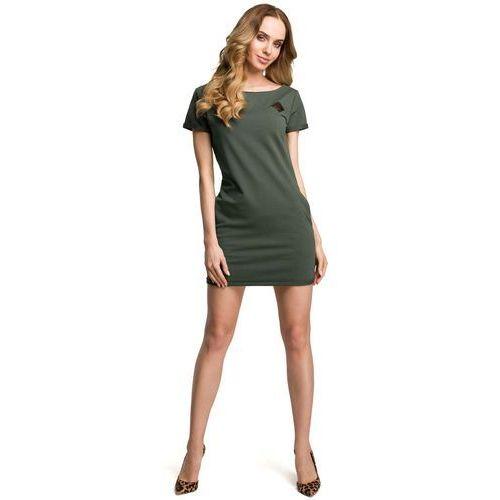 Suknie i sukienki, Zielona Dopasowana Mini Sukienka z Ozdobną Naszywką