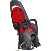 Foteliki rowerowe, Fotelik rowerowy Hamax Caress ciemnoszary czerwona wyściółka, z adapterem na bagażnik