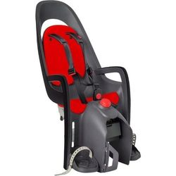 Fotelik rowerowy Hamax Caress ciemnoszary czerwona wyściółka, z adapterem na bagażnik