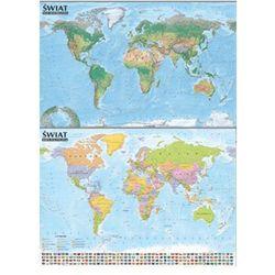 Świat. Mapa polityczna i krajobrazowa. Mapa ścienna 1:21 500 000 oprawiona w listwy - LISTWA