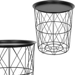 Stolik kawowy loft 35 cm kosz metalowy z tacą industrialny czarny