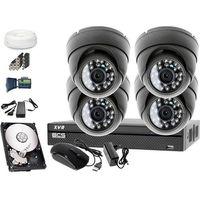 Zestawy monitoringowe, Zestaw do monitoringu: Rejestrator BCS-XVR0801, 4x Kamera LV-AL25HD, 1TB, akcesoria