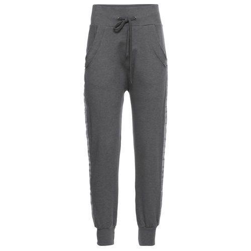 """Spodnie damskie, Spodnie dresowe z połyskującymi wstawkami bonprix antracytowy """"used"""""""