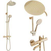 Zestawy prysznicowe, Zestaw prysznicowy natynkowy, kolor złoty Rea Lungo Gold