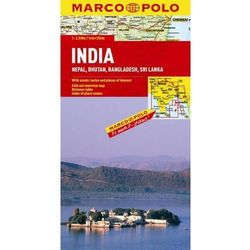 Indie, Nepal, Butan, Bangladesz, Sri Lanka 1:2 500 000. Mapa samochodowa, składana. Marco Polo (opr. twarda)
