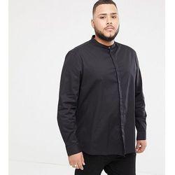ASOS DESIGN Plus regular fit shirt with grandad collar & popper in black - Black