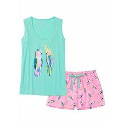 Piżama z krótkimi spodenkami bonprix morski zielony - jasnoróżowy z nadrukiem