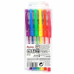 Auchan - Neonowe długopisy żelowe, mix 6 kolorów