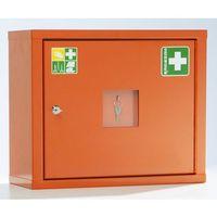 Apteczki ścienne, Szafka opatrunkowa wg DIN 13157, jednodrzwiowa, kolor pomarańczowy sygnalizacyjn